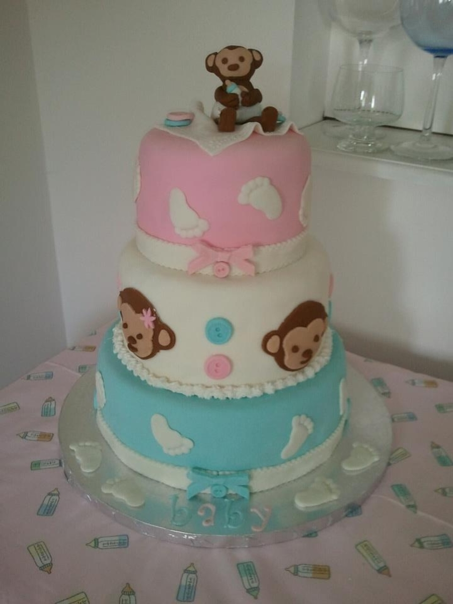 Little Monkey Baby Shower Cake on Cake Central