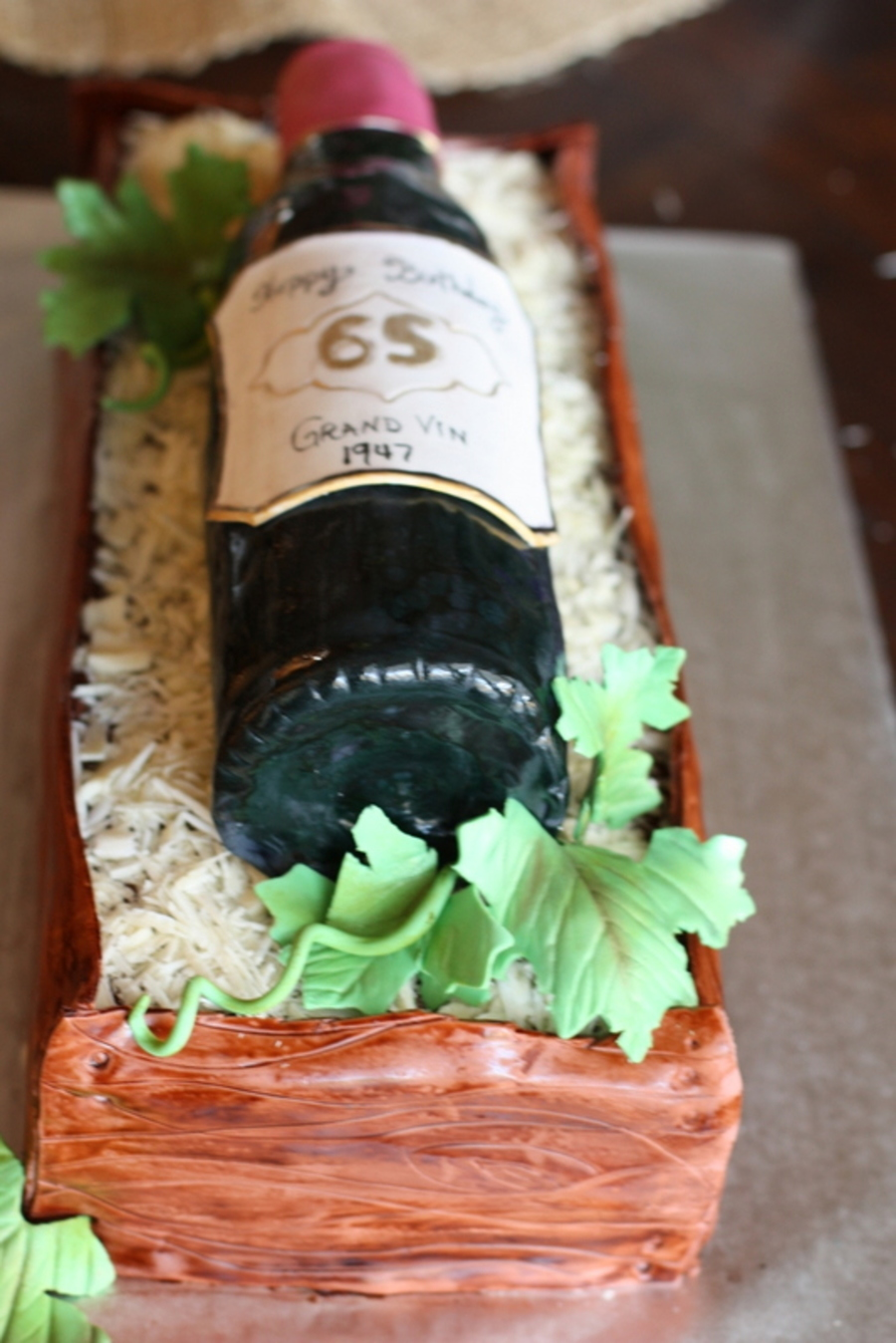 Wine Bottle In A Box Birthday Cake Is Covered Fondant Label Gum Paste Hand Painted Filled With Shaved White Chocolate