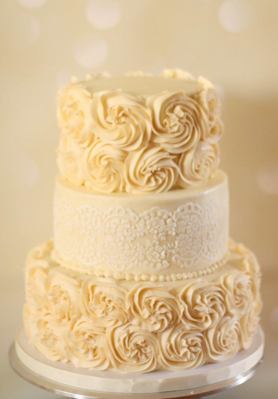 Lace Stencil Wedding Cake
