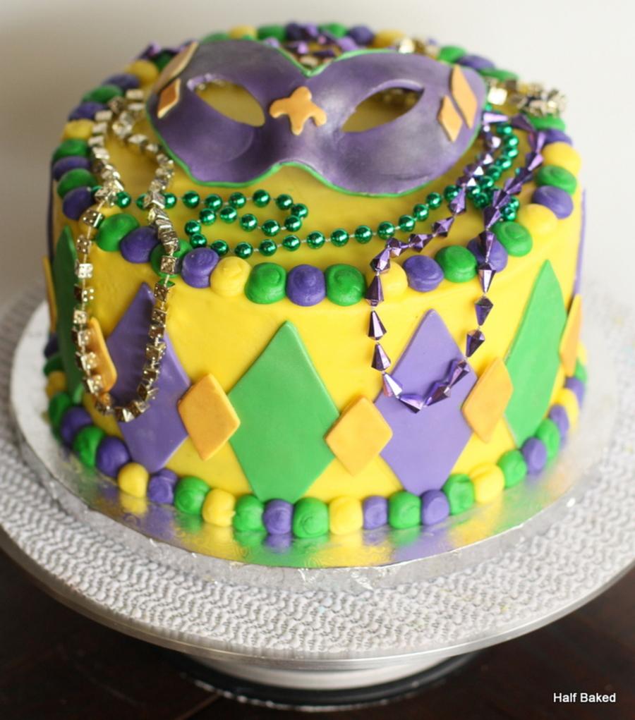 Mardi Gras Cake With Fondant Mask Topper - CakeCentral.com