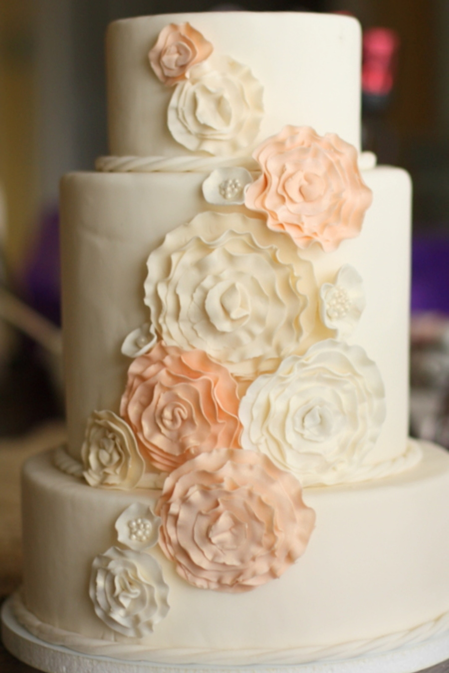Ruffle Flower Wedding Cake on Cake Central