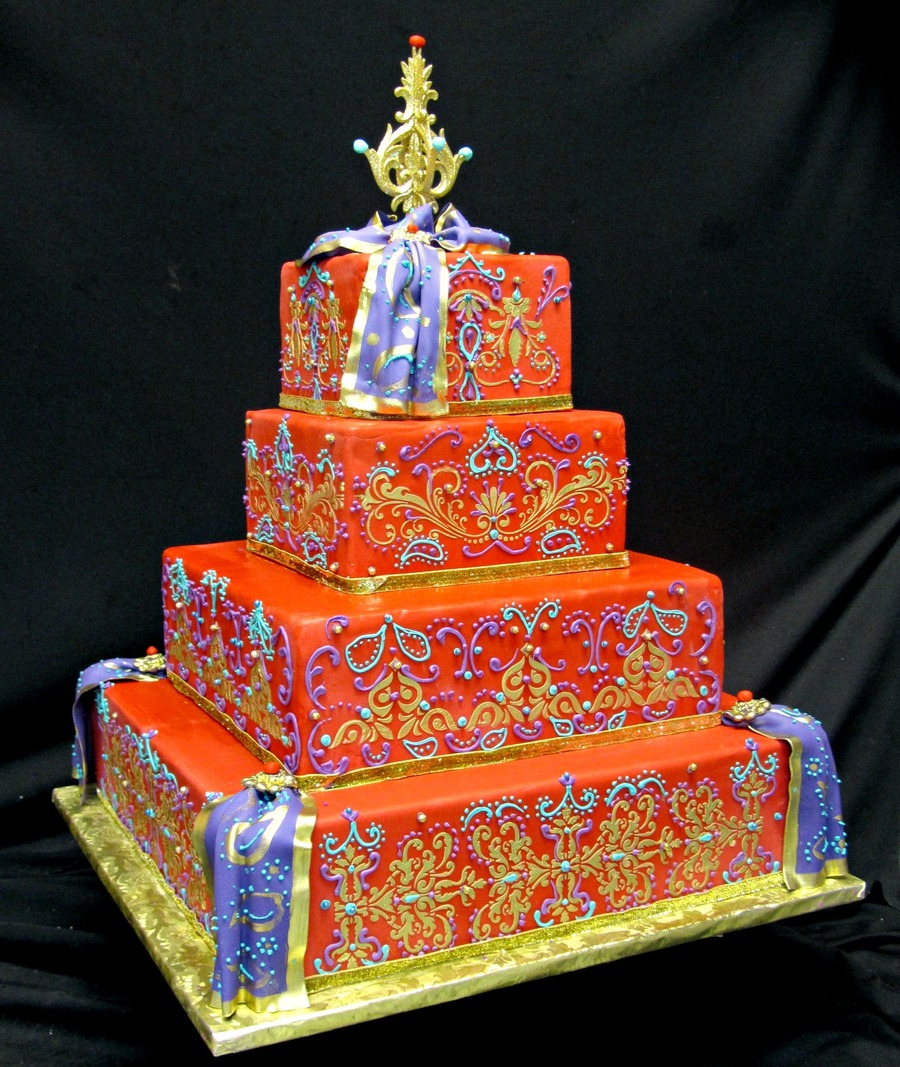 Colorful Indian Wedding Cake  on Cake Central