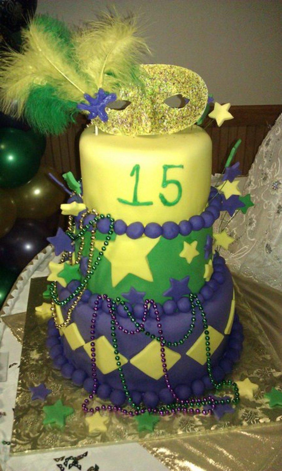 Mardi Gras Sweet 15 - CakeCentral.com