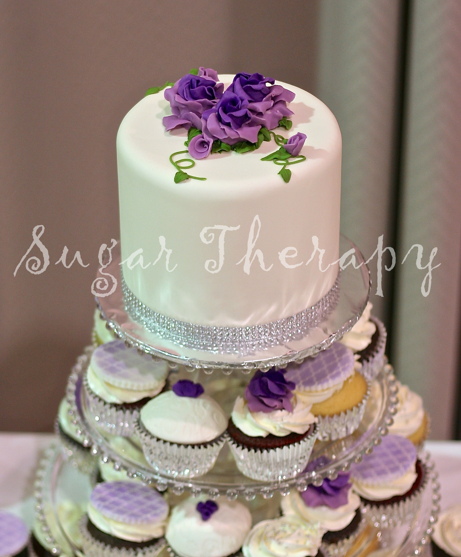 Purple Rose Wedding Cupcakes Close CakeCentral