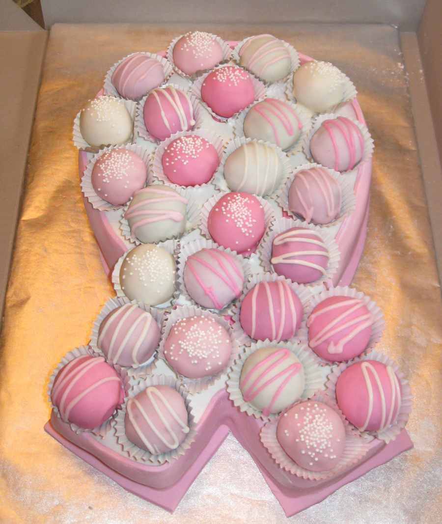 Pink Ribbon Cake With Cake Balls on Cake Central