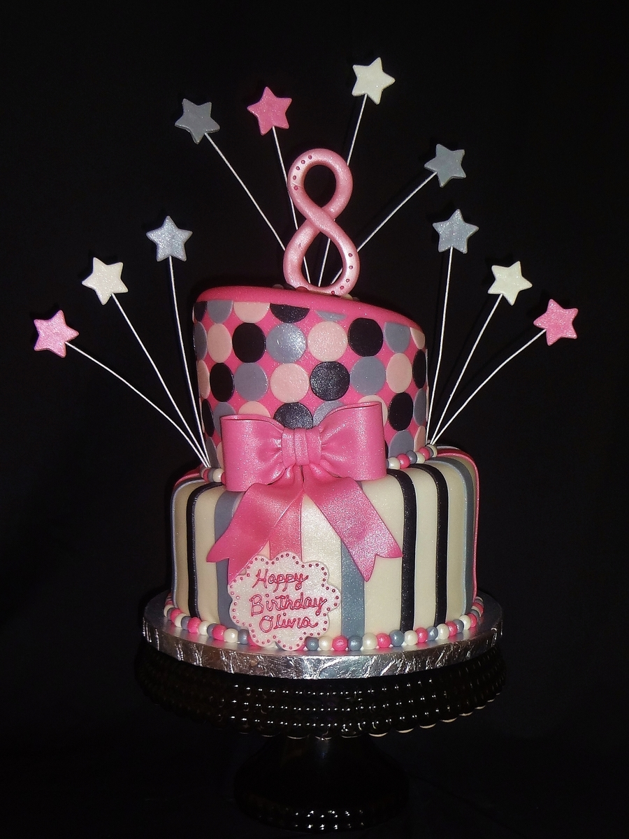 Pink Black And Grey Topsy Turvy on Cake Central