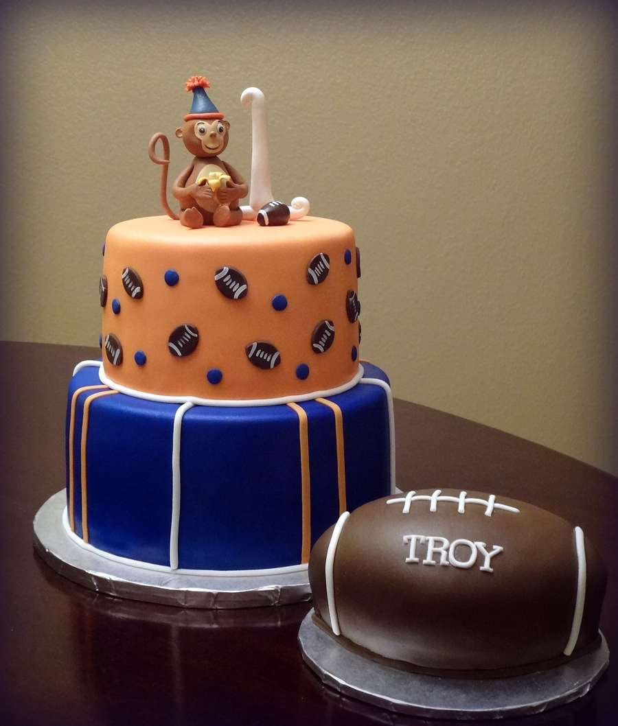 Football Theme Monkey 1St Birthday  on Cake Central
