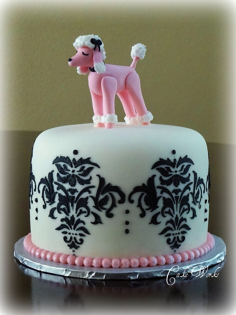Pink Poodle Damask  on Cake Central