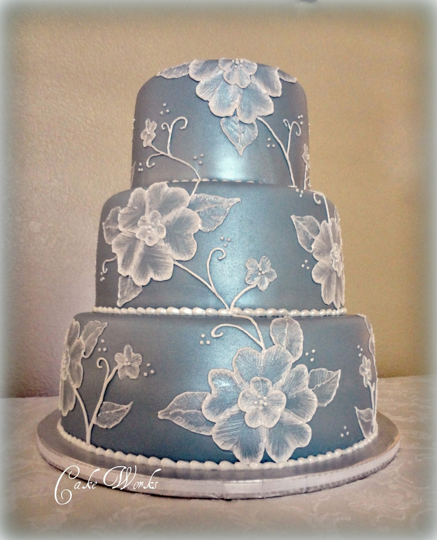 Ice Blue Wedding With Brushed Embroidery on Cake Central