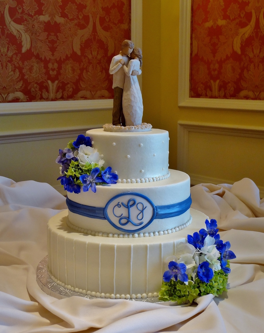 Buttercream With Royal Blue Fondant Ribbon on Cake Central