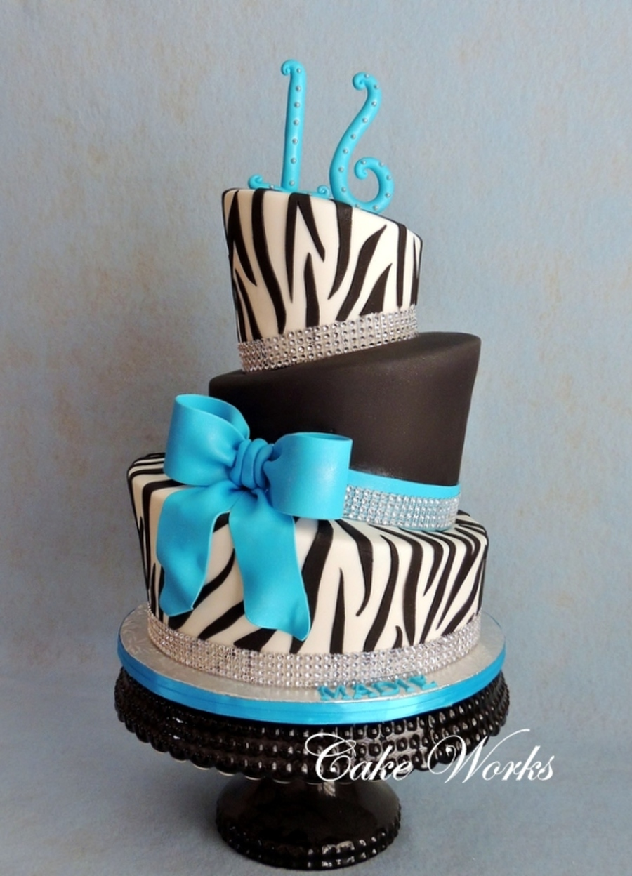 Sweet 16 Zebra And Bling Cakecentral Com