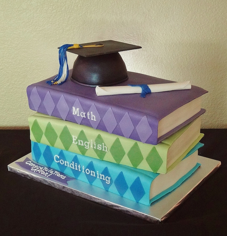 Graduation Stacked Books - CakeCentral.com