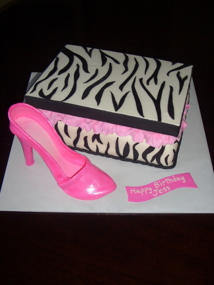 Zebra Print Box And High Heel Pump on Cake Central