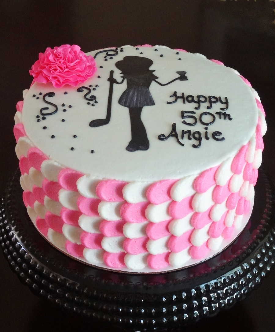 Pink and white 50th birthday for 50th birthday cake decoration ideas
