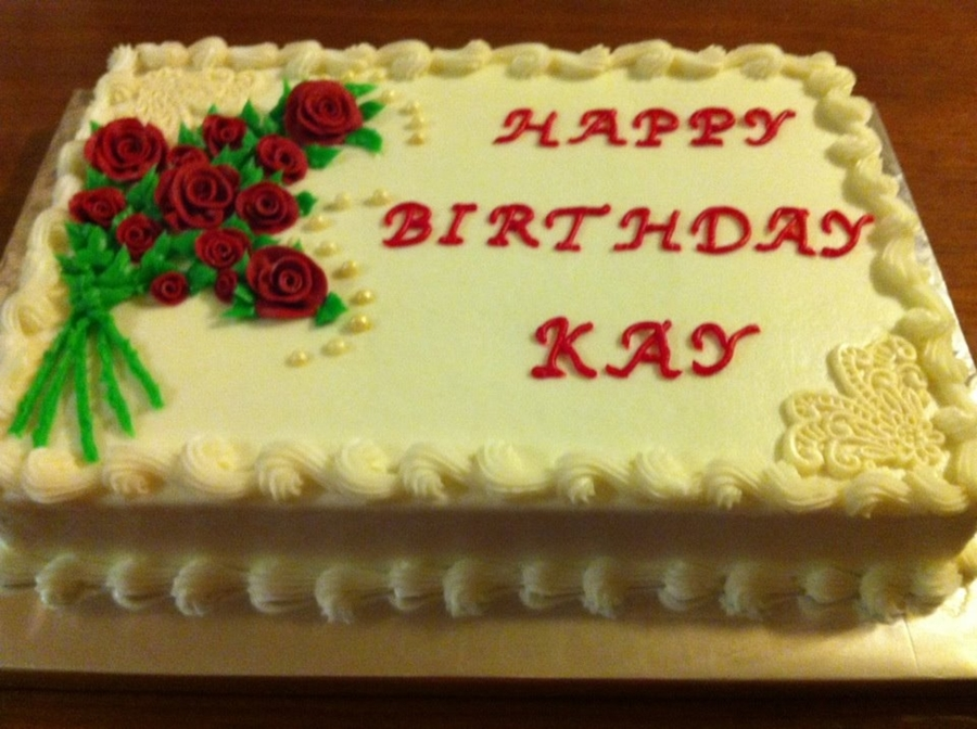 Hand Made Fondant Red Roses And Lace Corner Trim Pearls