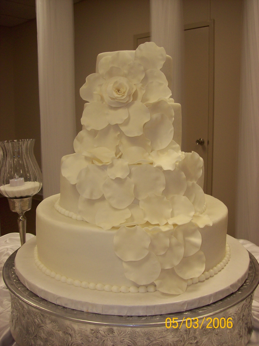 wedding cake with rose petals cascading petal wedding cake cakecentral 26958