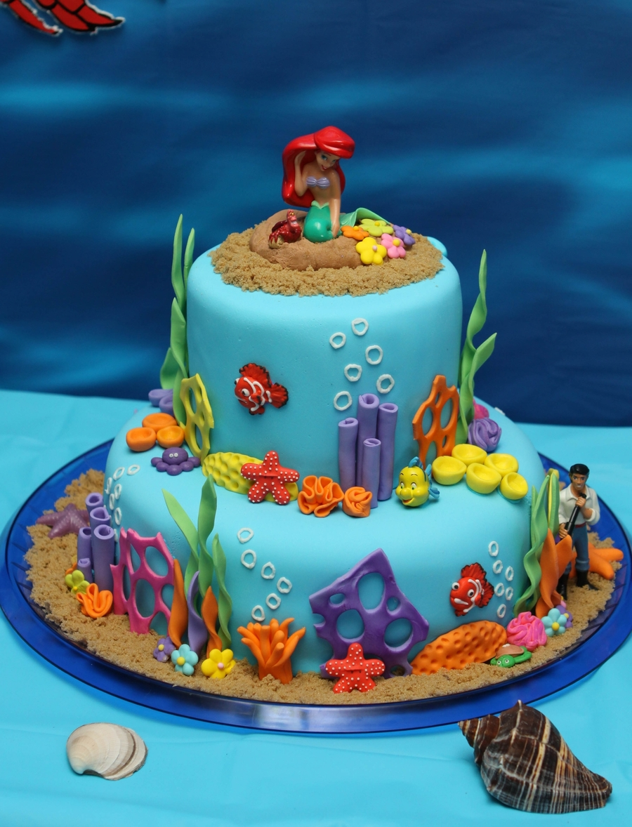 Under the sea ariel birthday cake for Ariel cake decoration
