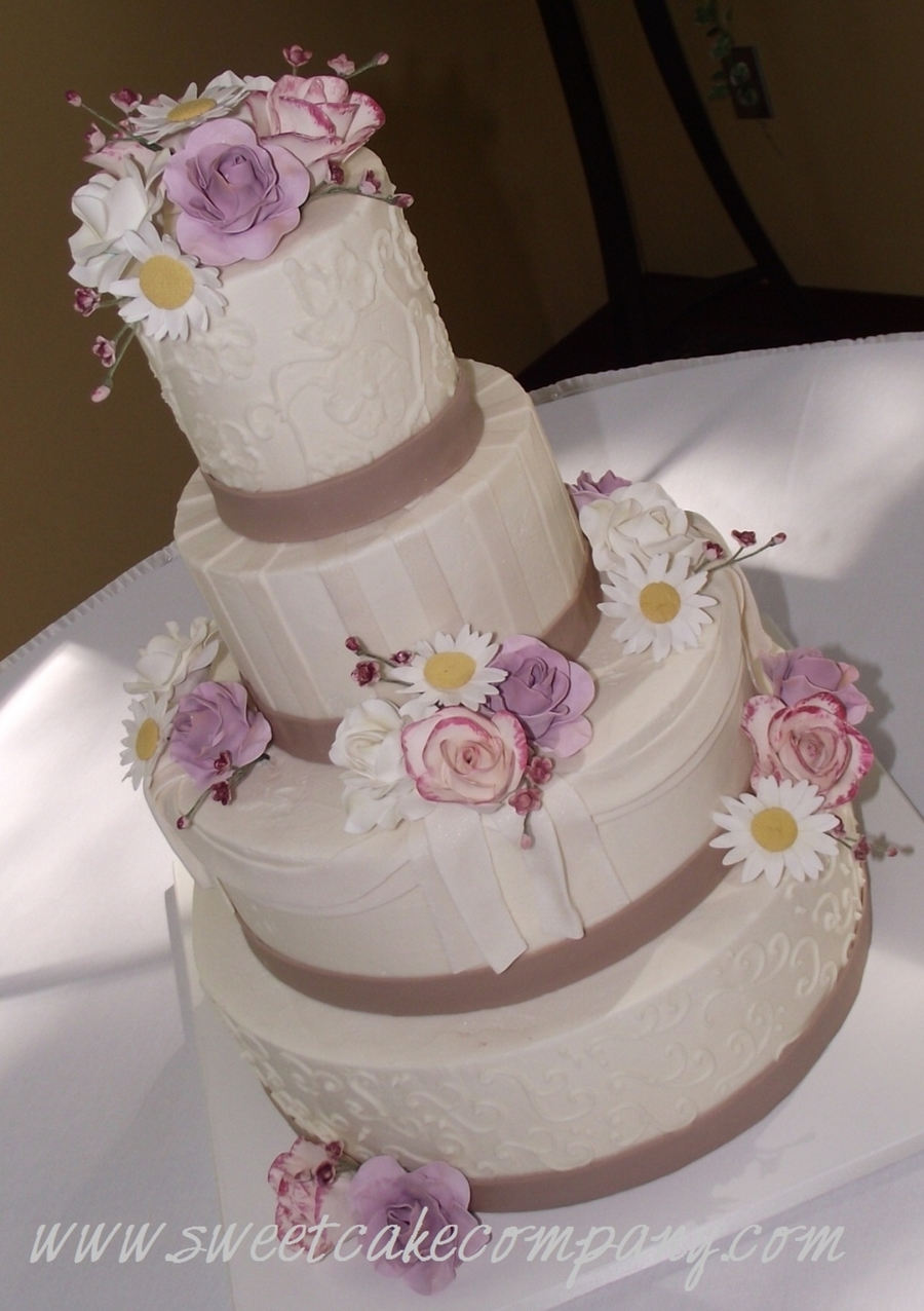 Buttercream Wedding Cake With Swags on Cake Central