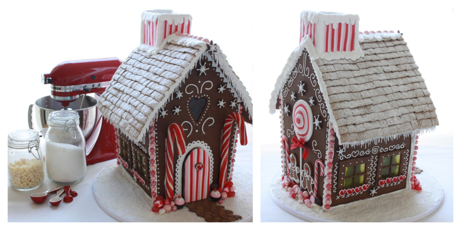 Gingerbread House With Red And Pink Decoration And Edible Windows On The Sides House Tutorial Httpwwwfacebookcommediasetseta10 on Cake Central