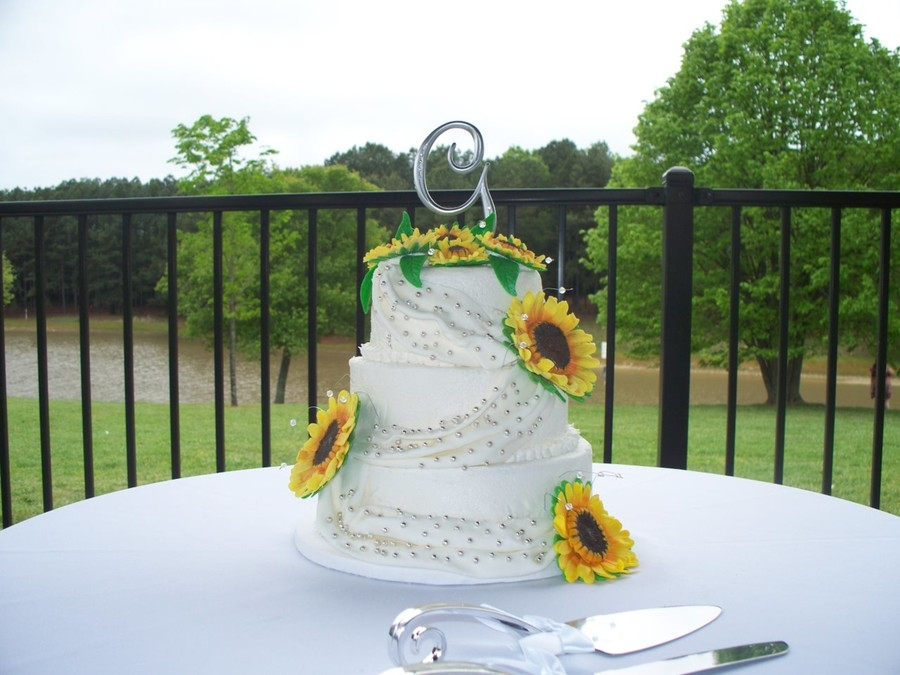 Sunflower Wedding Cake (Marble/white With Buttercream Frosting) on Cake Central