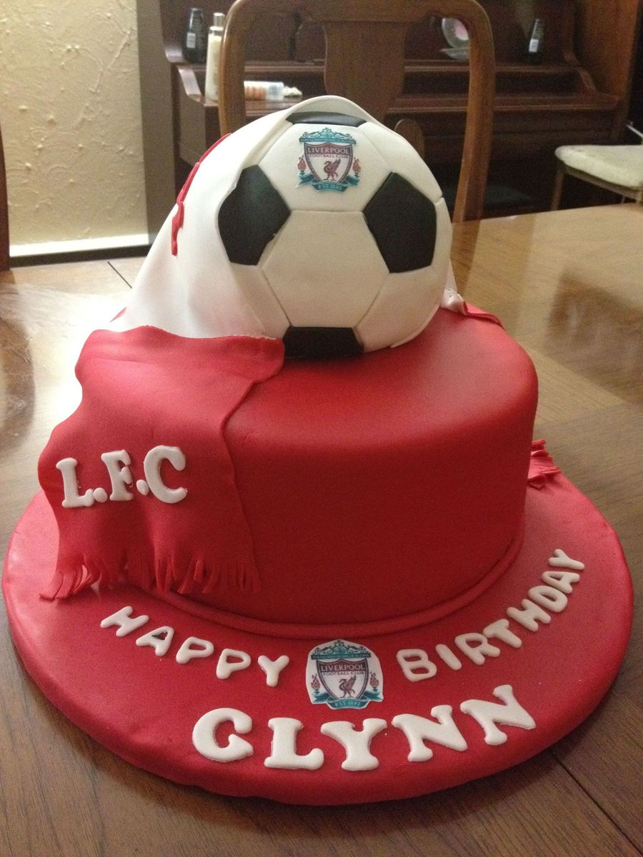 Liverpool Theme Birthday Cake I Made For My Husband on Cake Central