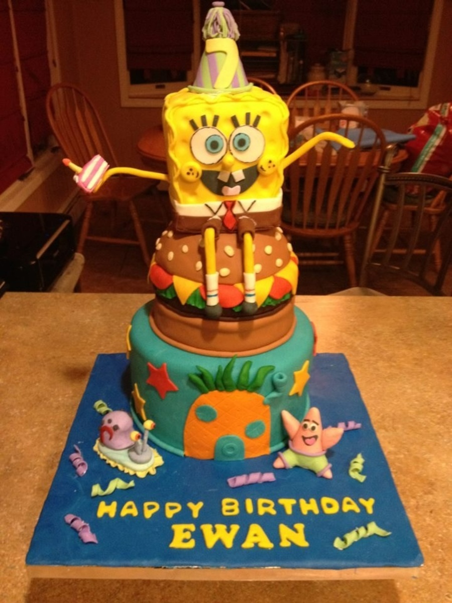 I Made This Cake For My Sons 7th Birthday Spongebob Is Rice Krispie