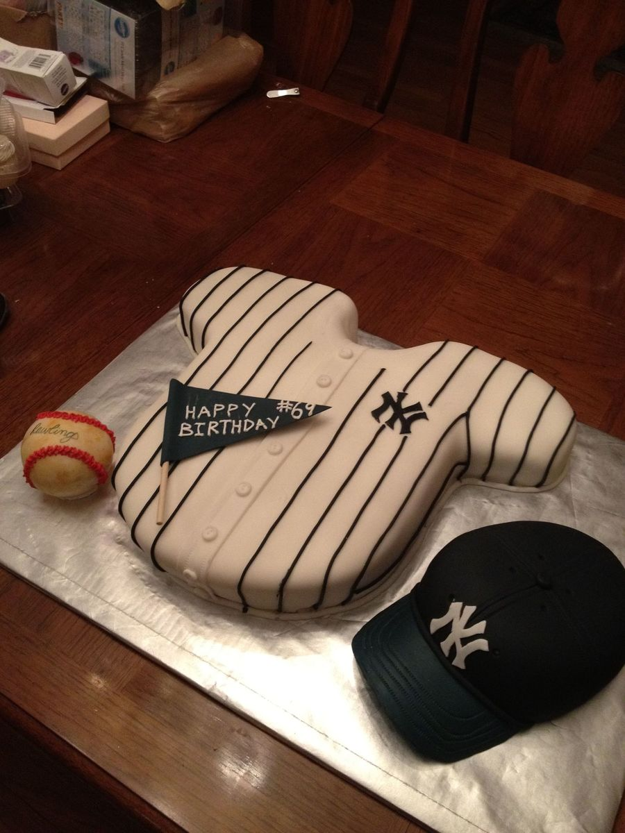 Yankee Themed Cake I Made For My Dads Birthday The Hat And Ball Are Rice Krispie Treat Covered In Fondant on Cake Central