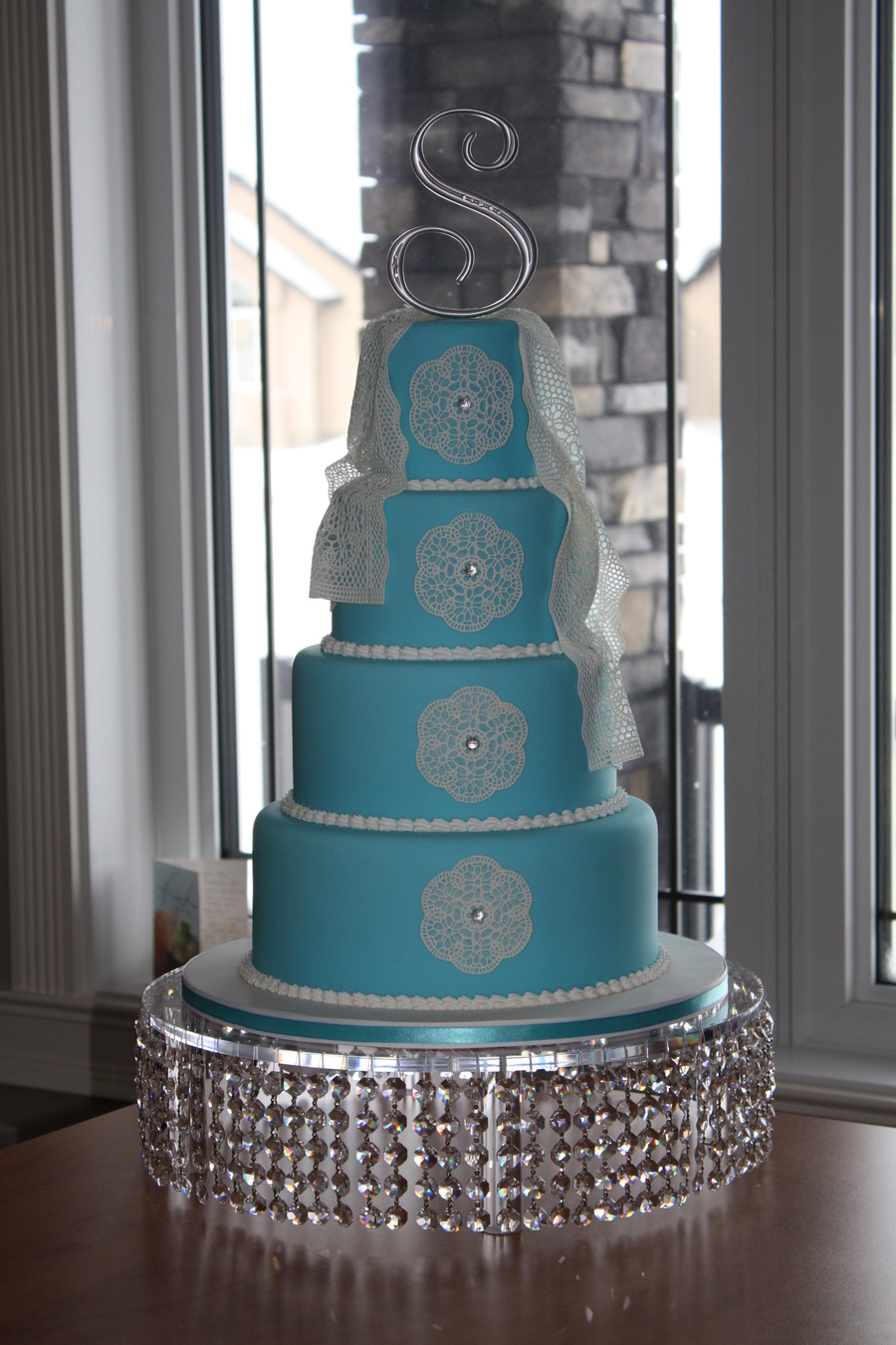 blue lace wedding cake blue with lace wedding cake cakecentral 11993