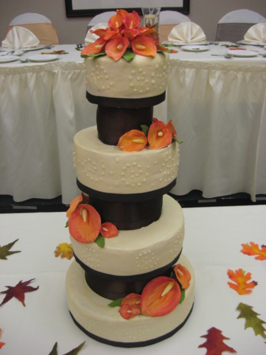chocolate brown and burnt orange wedding cakes fall wedding cake cakecentral 12688