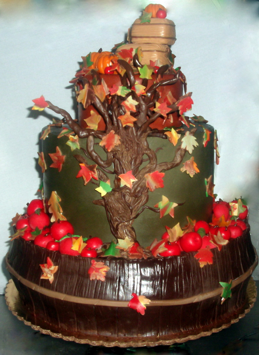 Barrel Of Apples Fall Themed Cake All Fondant Decorations  on Cake Central