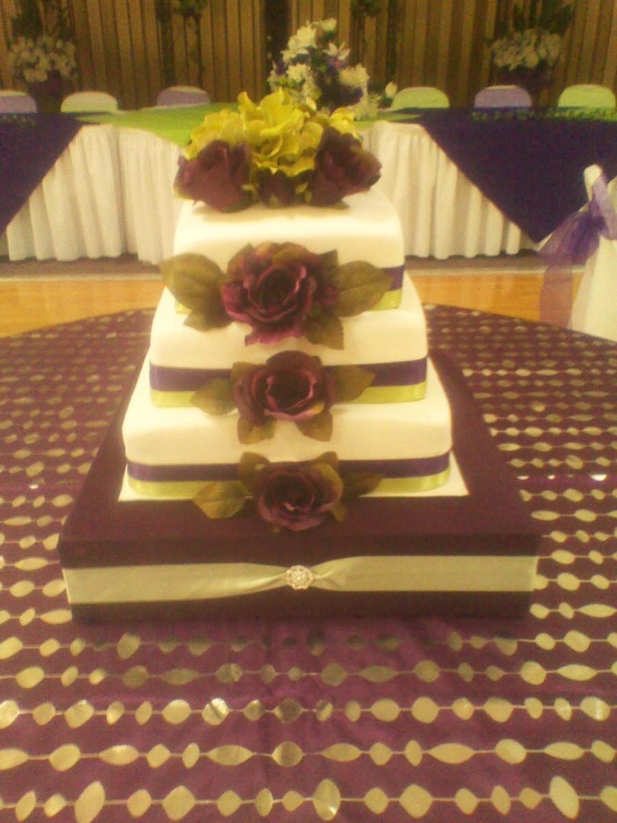 Plum & Sage Green Wedding Cake - CakeCentral.com
