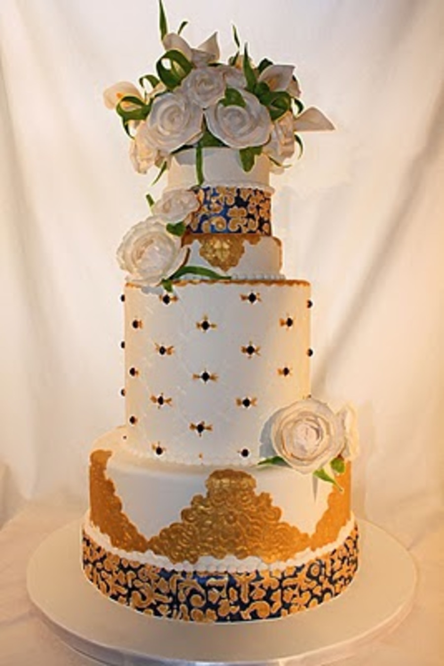 blue gold wedding cakes royal blue and gold wedding cake cakecentral 11987