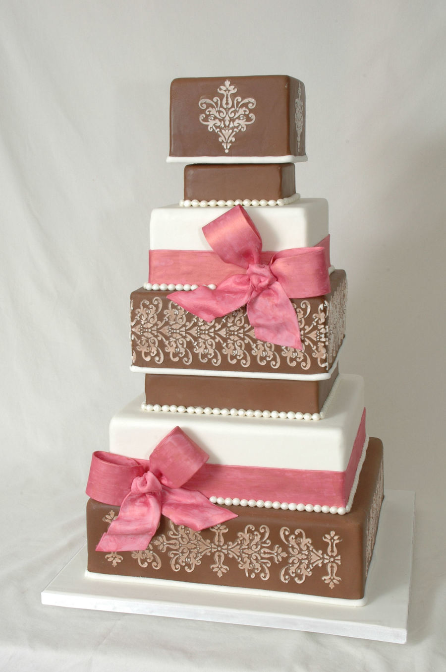 pink and brown wedding cake - cakecentral