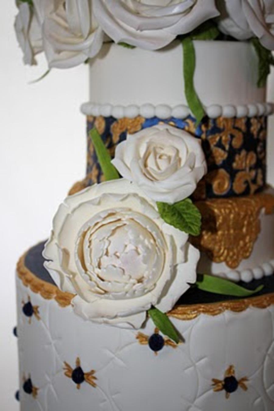 Elegant Royal Blue And Gold Wedding Cake Cakecentral Com