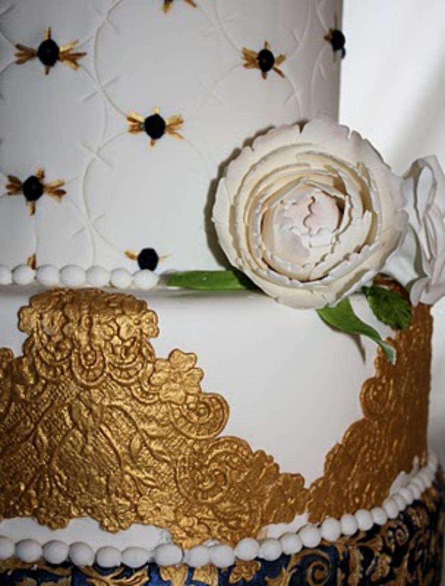 Wedding Cake Royal Blue Flowers