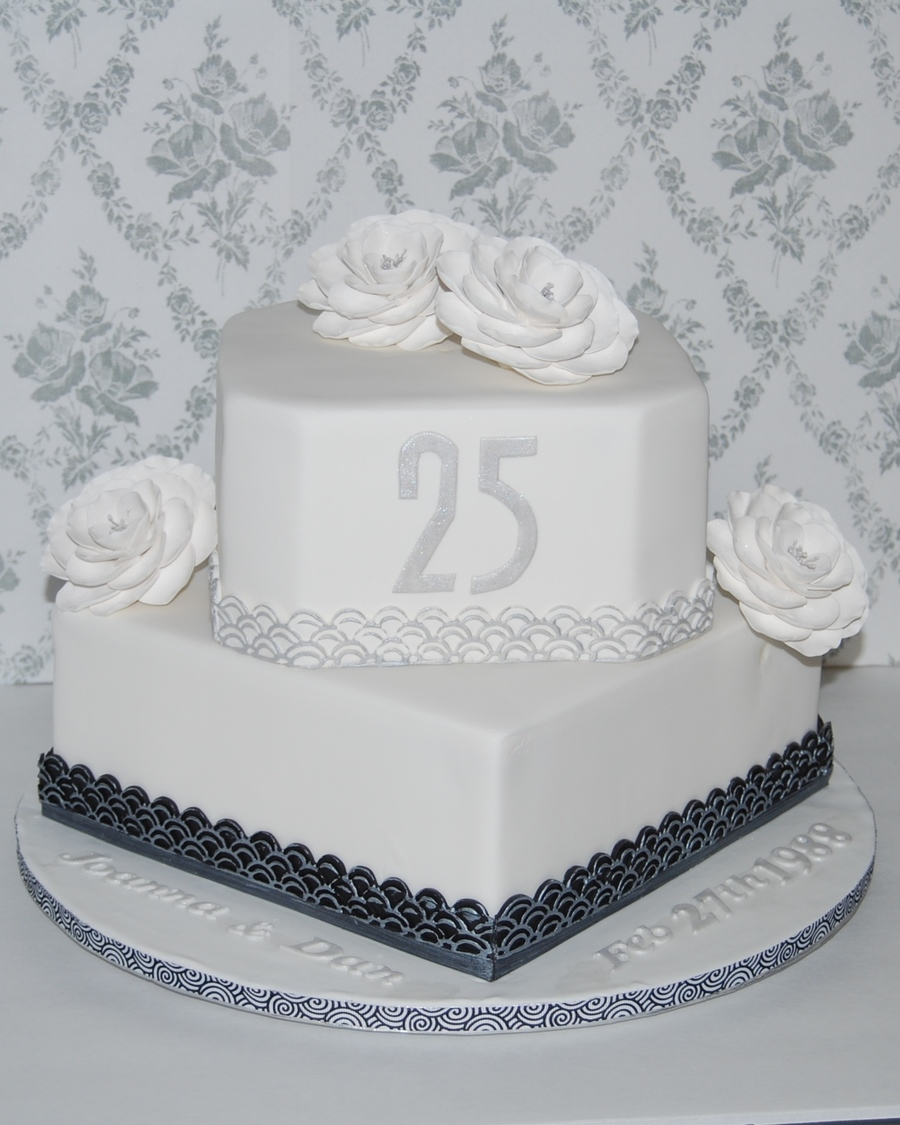 25Th Anniversary Cake Silver Highlighted Art Deco Border And Silver Dusted Briar Roses Chocolate Cake With Chocolate Hazelnut Buttercream on Cake Central