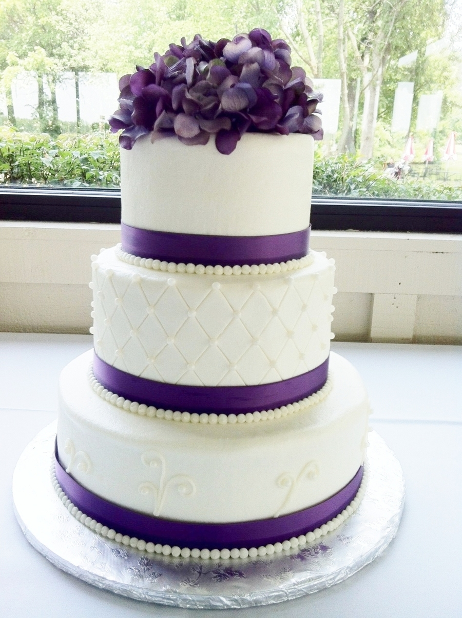 Purple Round Wedding Cake on Cake Central
