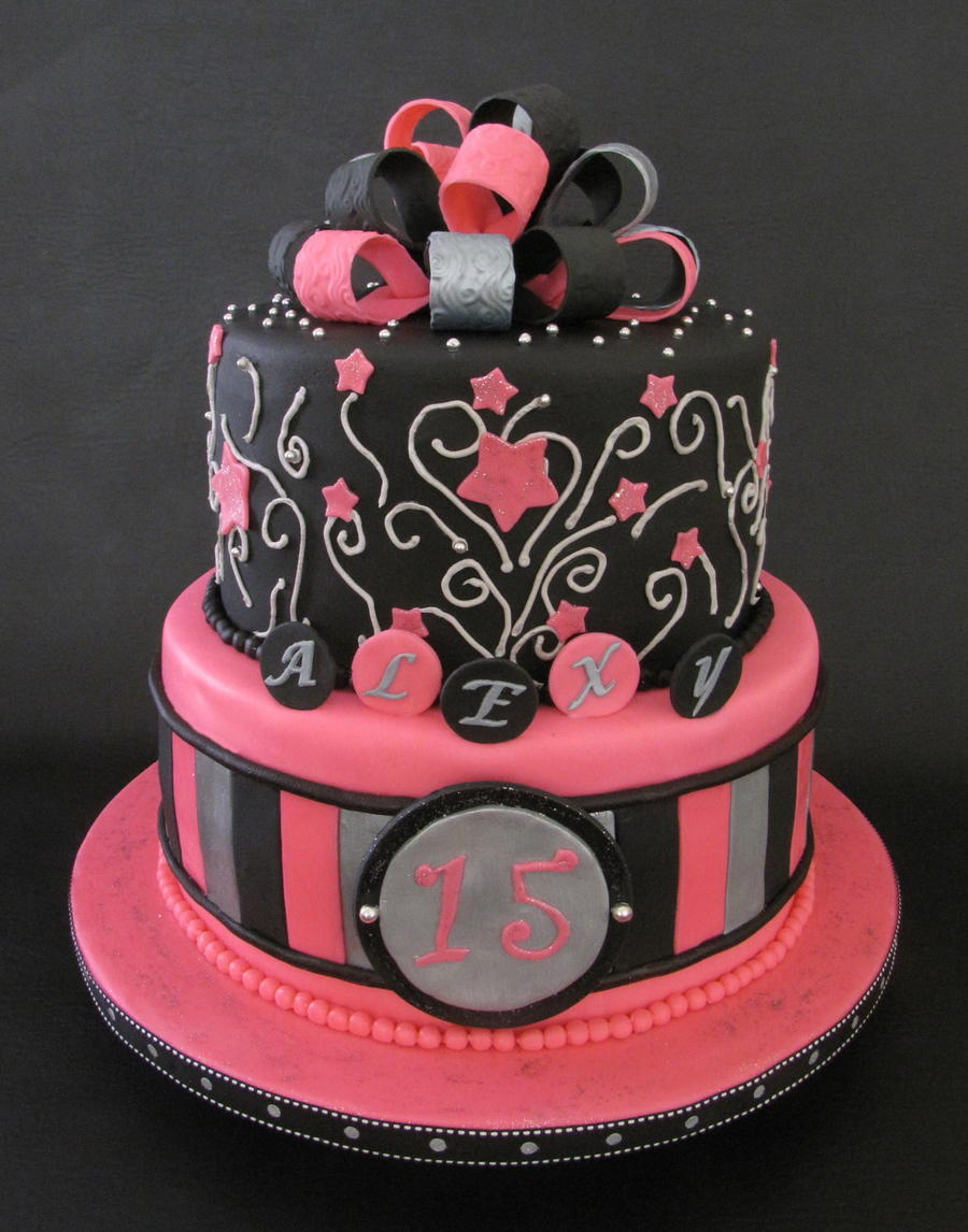 Quinceanera Hot Pink & Black on Cake Central