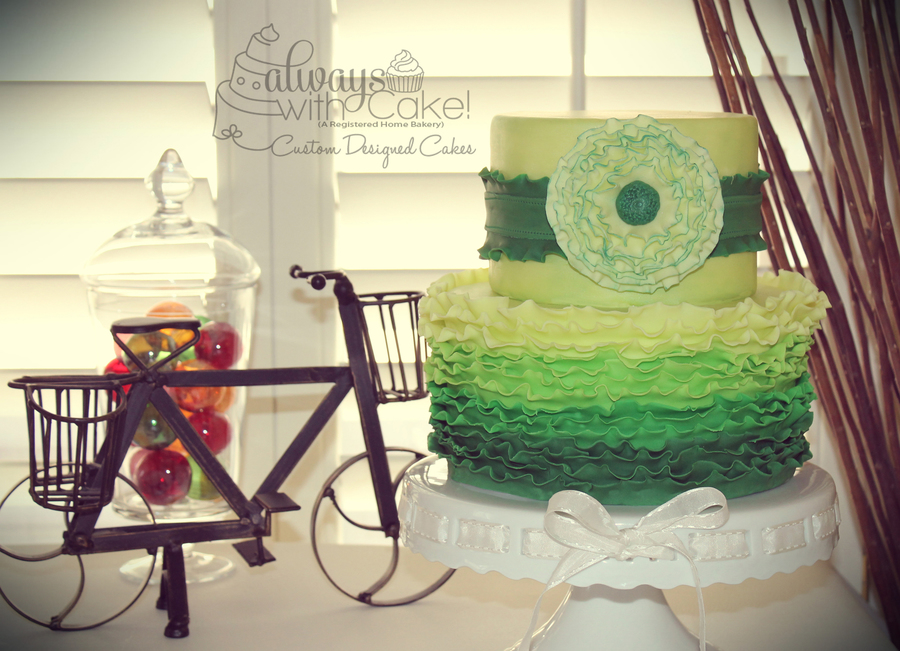 Green Ombre Ruffles on Cake Central