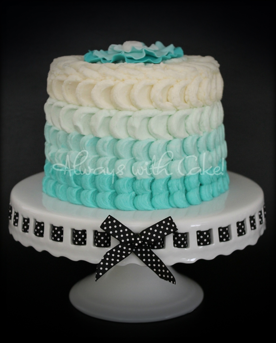 Turquoise Ombre Petals on Cake Central