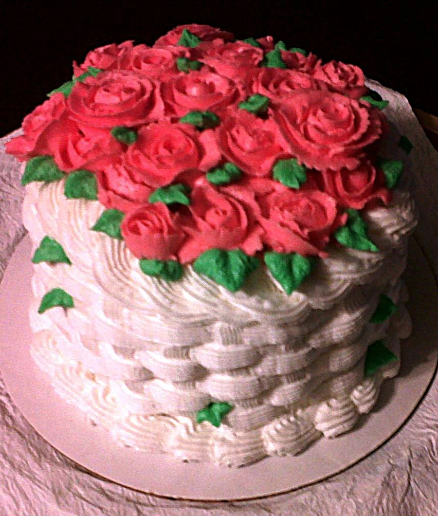 Basket Cake With Pink Roses on Cake Central