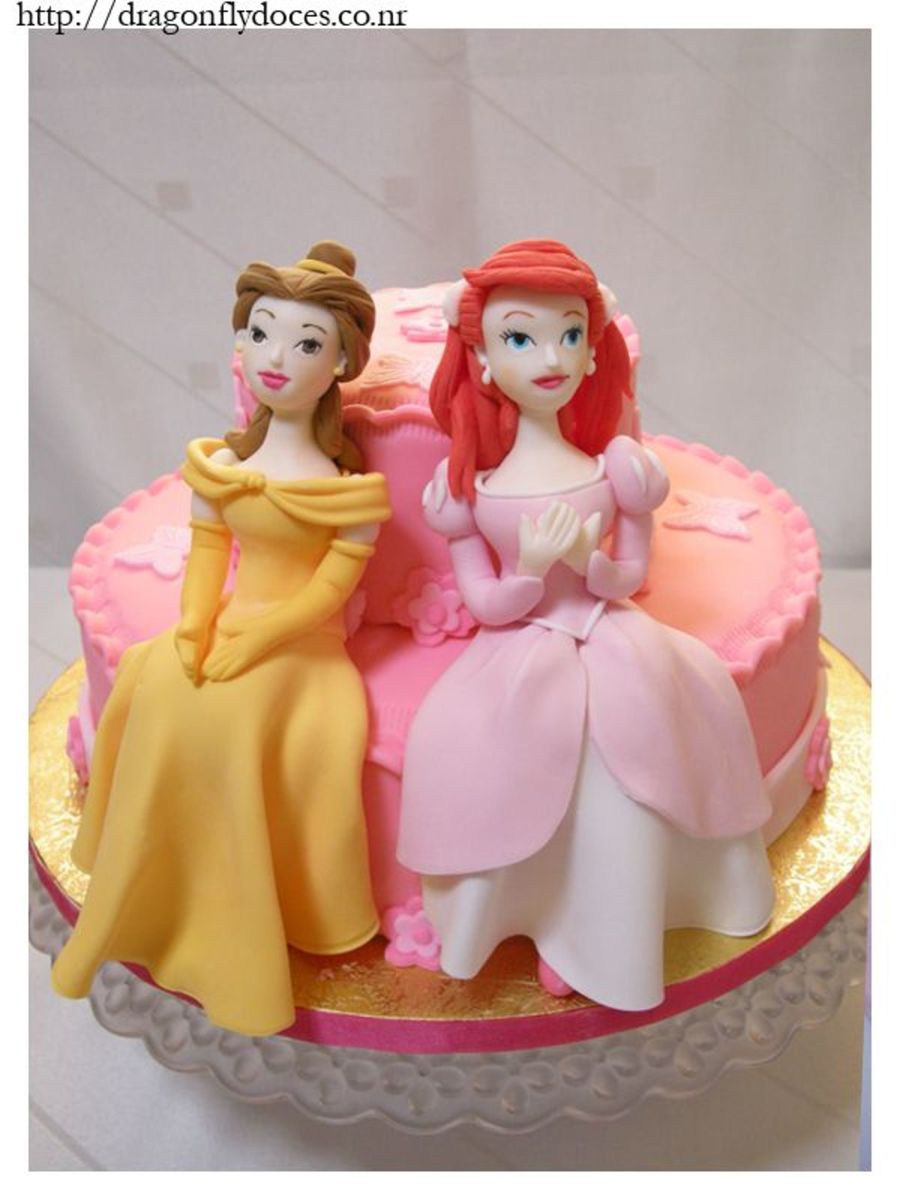 Ariel And Belle Cake  on Cake Central