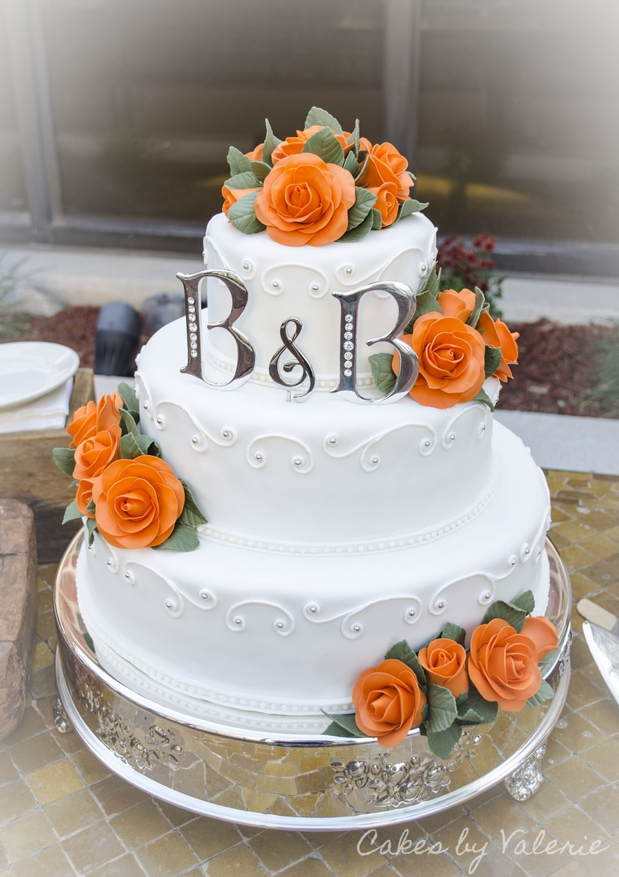 Orange Roses - Fall Wedding Cake on Cake Central