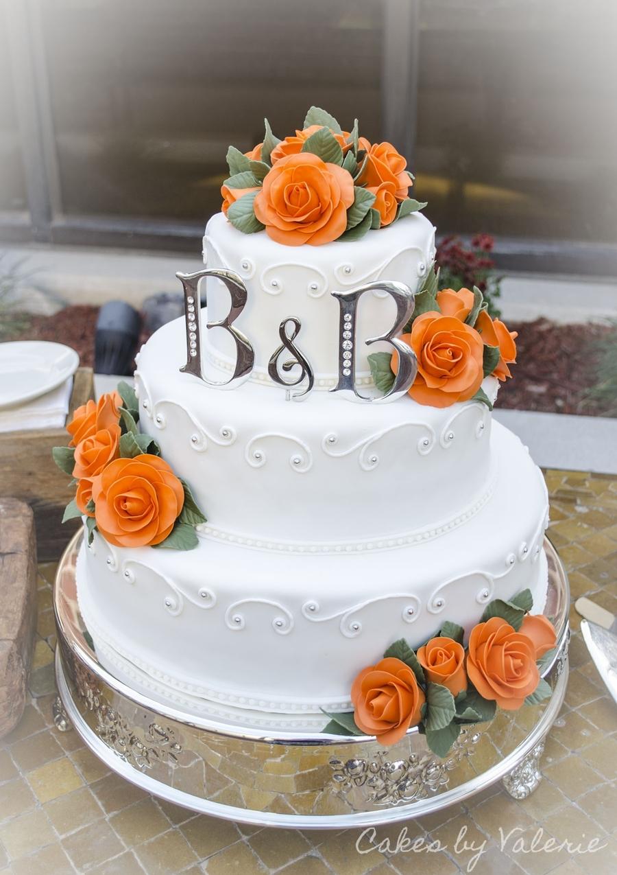 Orange Roses Fall Wedding Cake Cakecentral Com