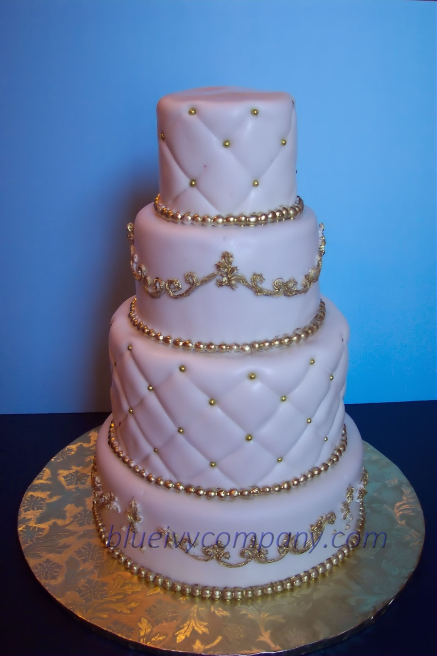White & Gold Wedding Cake  on Cake Central