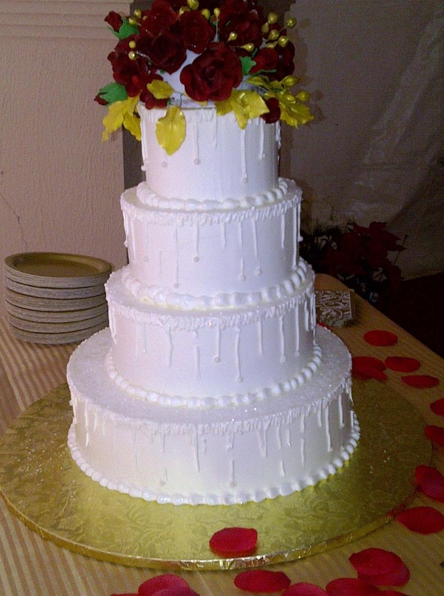 Winter & Red Roses Wedding Cake - CakeCentral.com