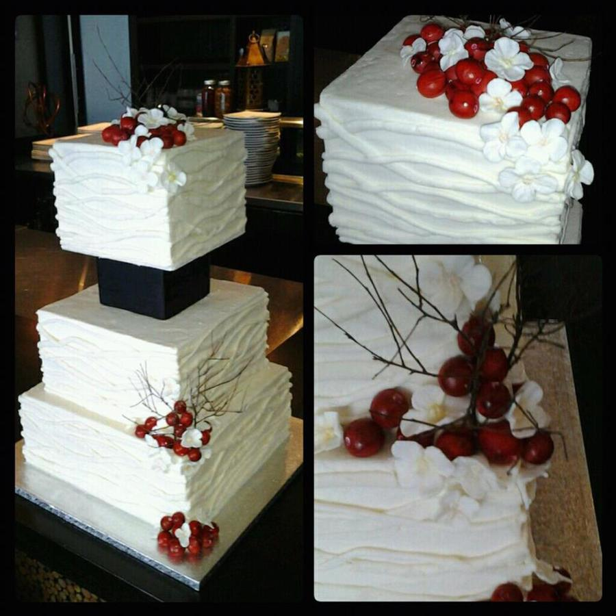 3 Tier Square 6 8 10 Buttercream Finish With Buttercream Branch Texturing Gumpastefondant Cranberries And Hydrangea Styrofoam Sep on Cake Central