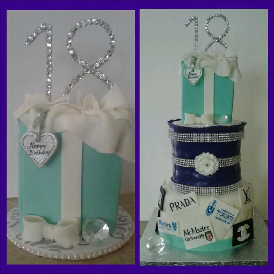 18Th Birthday Cake 8 Inch And Carved 67 Inch Cake Covered In Fondant Tiffany Bag On Top Is Fake As Client Wanted To Keep It Along Wi on Cake Central