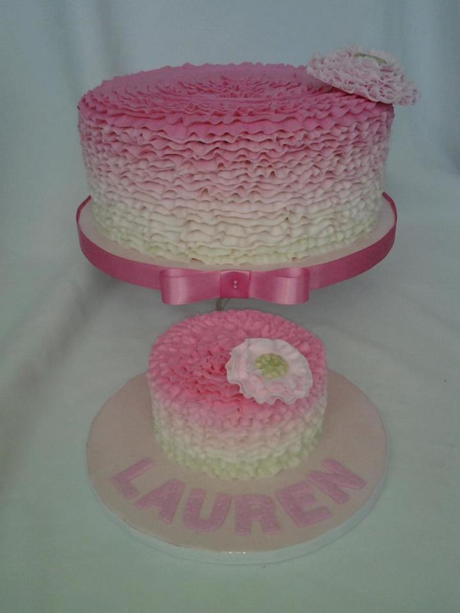 Buttercream Ruffle Birthday And Smash Cake With Gumpaste Flower Accent  on Cake Central