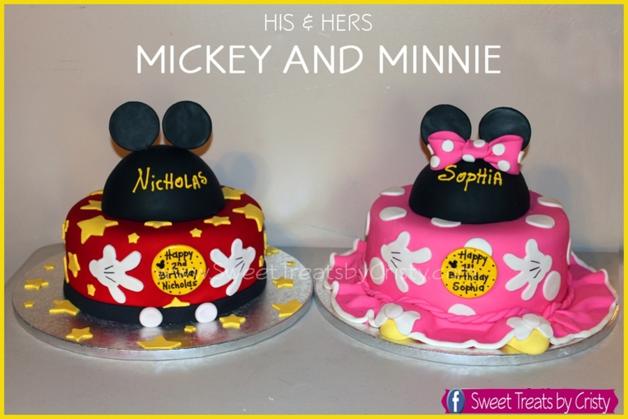 Mickey And Minnie His And Hers on Cake Central